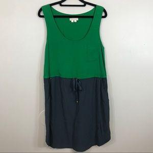 Edme & Esyllte Green Gray Drop Waist Tank Dress